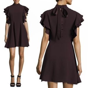 Cinq a Sept Reina Dress Ruffle Sleeve Tiered 1577